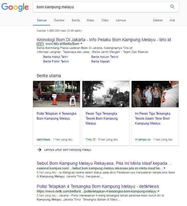 Hasil Pencarian Google Terkait Bom Kampung Melayu